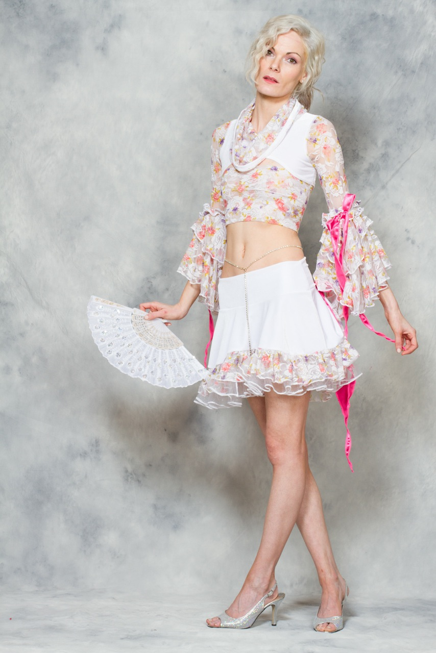 Women's white and pink velvet lace Marie Antoinette inspired costume by Accentuates Clothing