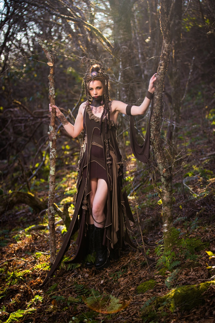 Woman in forest wearing Tree Sprit brown fairy dress costume outfit by Accentuates Clothing