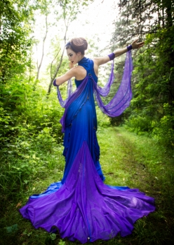 woman in sexy blue dragonfly costume with purple wings by Accentuates Clothing