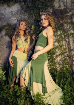 models in elven fae belly dance costumes by Accentuates Clothing