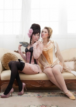 Women in Rococo French boudoir wearing Let them eat cake Marie Antoinette inspired lingerie by Accentuates Clothing
