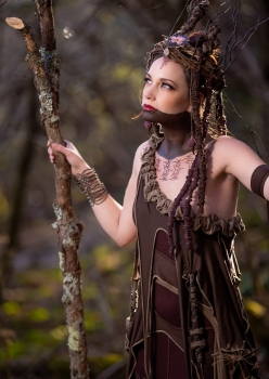 Woman in brown tree spirit costume by Accentuates Clothing