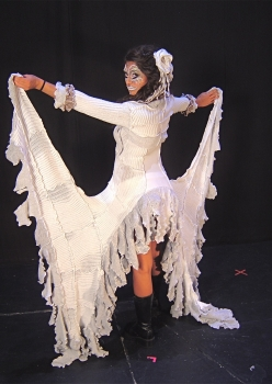 woman in white gown with train Ice Queen costume by Accentuates Clothing