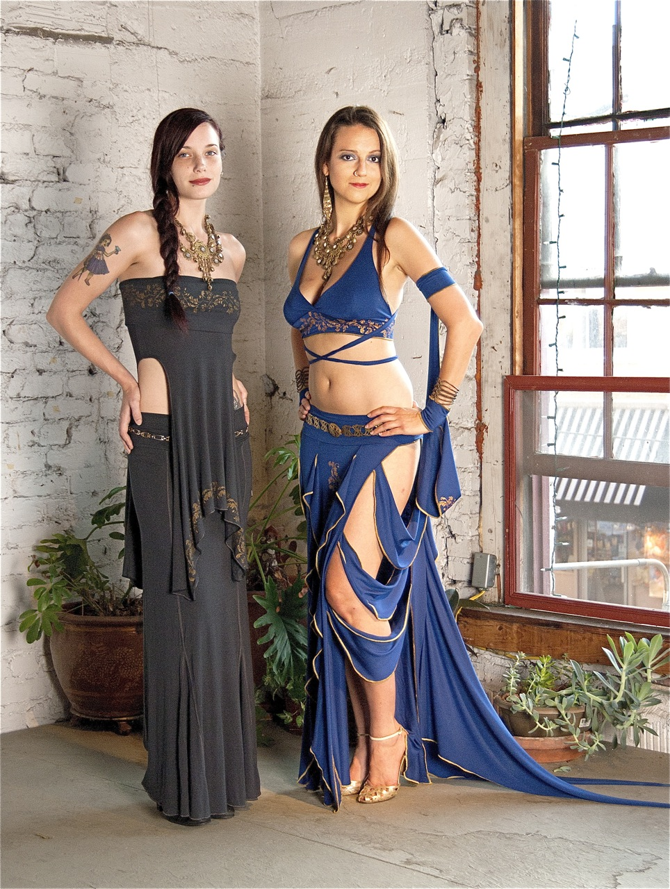 Women in noveau belly dance outfits by Accentuates Clothing