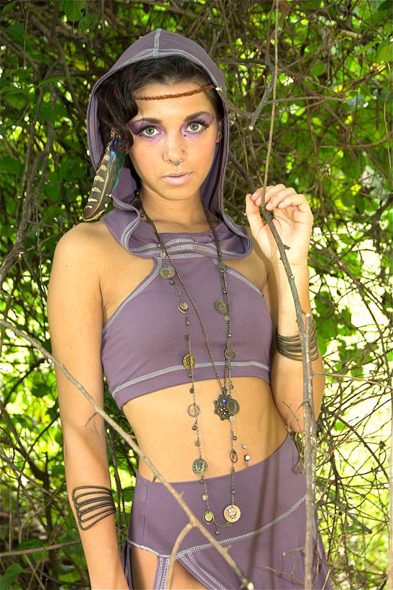 woman in hoodie crop top elven fae costume by Accentuates Clothing