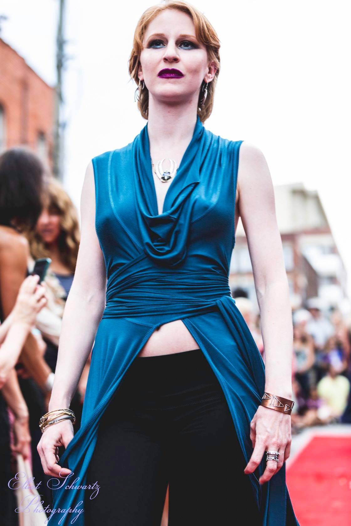 redhead modern woman fashion model on runway
