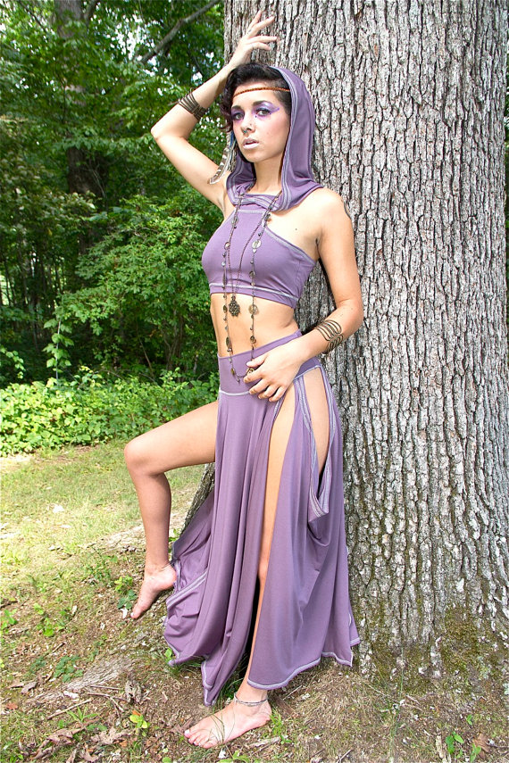 woman in elven fae belly dance costume by Accentuates Clothing