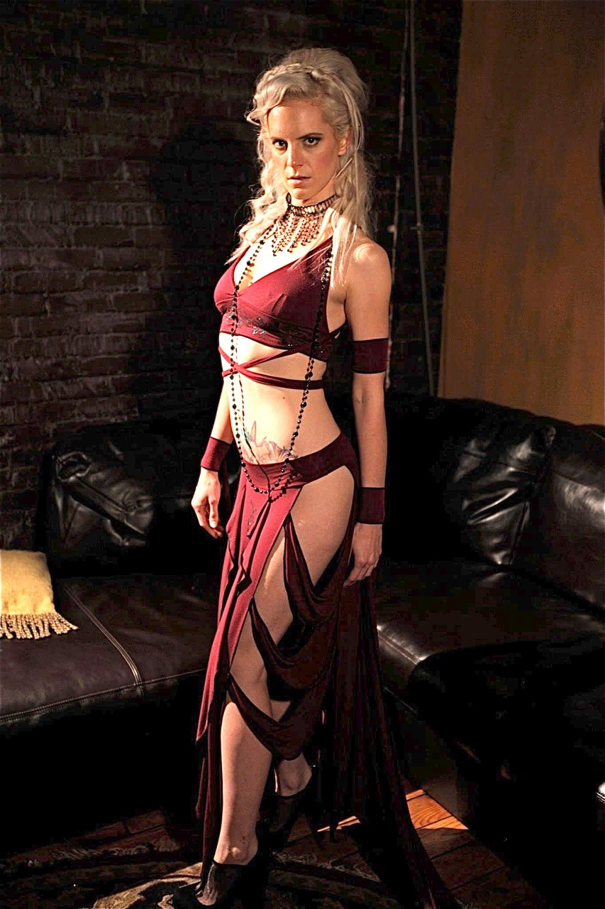 Women's red belly dance costume outfit by Accentuates Clothing