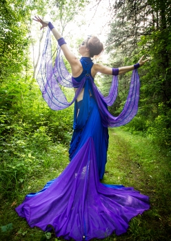 woman in blue dragonfly costume with purple wings by Accentuates Clothing