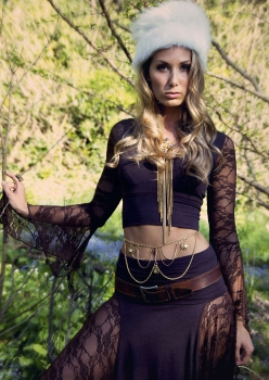 woman in steampunk brown lace outfit by Accentuates Clothing