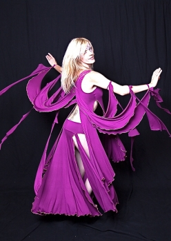 woman in purple winged bellydance costume by Accentuate Clothing
