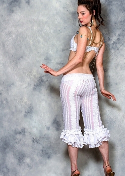 model in white lingerie pants by Accentuates Clothing with rococo hair style