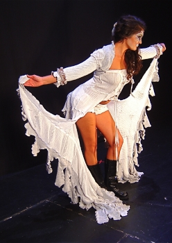 woman in white winged gown Ice Queen costume by Accentuates Clothing